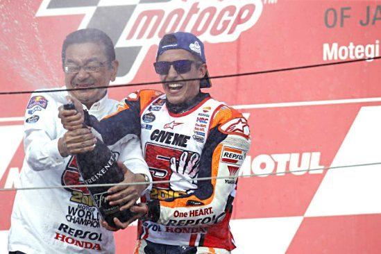 YUASA fête la magnifique victoire de Marquez à Motegi : troisième titre mondial au motoGP assuré pour le pilote!